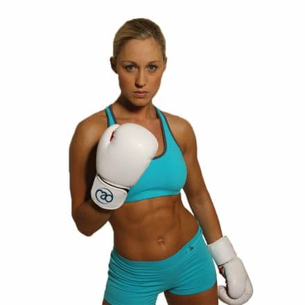 Fitness Mad 8oz Womens Boxing Gloves Fit P.U Leather Pro Sparring - White